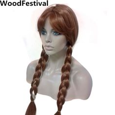 princess anime wigs for woman brown ponytail wig blonde long double ponytail wig synthetic hair wigs heat resistant WoodFestival