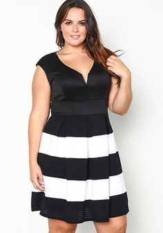 Plus Size Perforated Fit and Flare Plunge Dress - Debshops