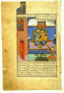 Zal goes to Rudaba, from the Shahnama of Firdausi Shiraz and Timurid Schools, Baghdad, Iraq, circa 1460–1466 Ink, opaque watercolor, and gold leaf on paper University of Michigan Museum of Art