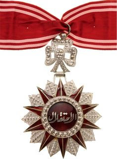 TUNISIA - ORDER OF INDEPENDENCE | Commander's Cross, 2nd Type. Neck Badge, silver, superimposed central medallion, enameled,
