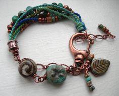 Boho Ceramic Beadwork Bracelet, Beaded Macrame Bracelet, Hand-Knotted with Copper Beaded Bracelet OOAK