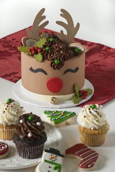 Rudolph the Red Nosed Reindeer Cake by 3 Sweet Girls Cakery