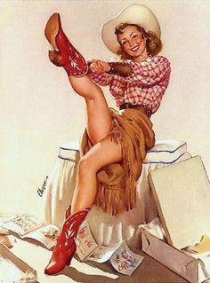 Vintage Cowgirl kickin' up her heels!