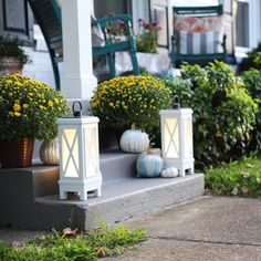 These Led Lanterns are just the thing needed for a complete fall porch design. Bring light and music to outdoor or indoor spaces. With built-in Bluetooth speaker synchs with compatible devices to deliver your favorite tunes wherever you like. Generously sized to offer style as well as light, with a farmhouse carriage look that pairs well with classic wicker or traditionally styled pieces. #fall #outdoordecor #pumpkins#falldecor #frontporchfalldecor #fallporchfalldecor…