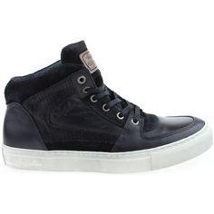 vette Australian heren hoge veterschoenen heren sneakers (Zwart)