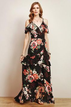 Beautiful Womens cold Shoulder Mxi Dress, Floral & Fun both Formal or casual..