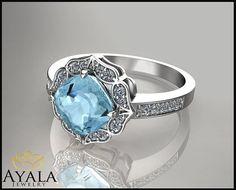 14K White Gold Aquamarine Ring  Halo ringCushion by AyalaDiamonds $1090