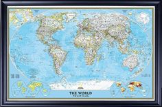 Beautiful framed world map framed maps pinterest framed maps classic world map by national geographic decorative black with gumiabroncs Choice Image