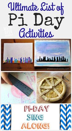 This page has such a great list of fun and free pi day activities, ideas, art projects, games videos and more! There's something to make pi day fun for all ages!