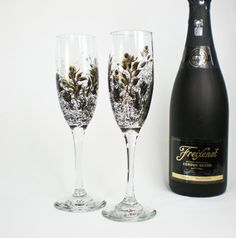 Champagne Wedding Toast Flutes  Hand Painted by HandPaintedPetals, $42.00