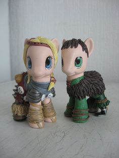 Astrid & Hiccup my little pony customs by AssassinKittyCustoms