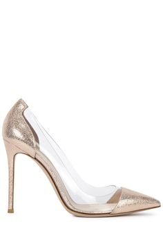the best attitude 9aa78 0e87a Gianvito Rossi rose gold textured leather pumps Heel measures approximately  4.5 inches
