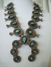 EXTRAORDINARY Old NAVAJO Sterling & ROYSTON TURQUOISE Squash Blossom Necklace
