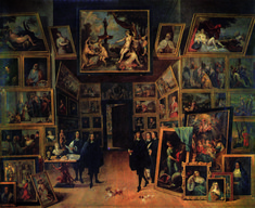 TENIERS, David the Younger, Archduke Leopold Wilhelm in his Gallery, c. 1647, Oil on copper, 106 x 129 cm, Museo del Prado, Madrid