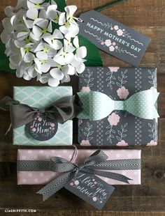 Mother's Day Gift Idea - Use this FREE Gift Wrap and Tags. More DIY Mother's Day Ideas on Frugal Coupon Living.