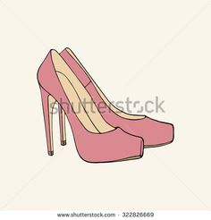 Pink high-heeled shoes #vector #clothes #accessories #fashion