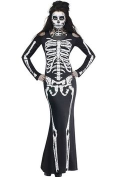Long Skeleton Halloween Costume LAVELIQ