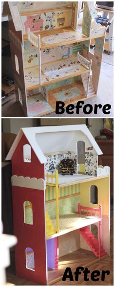 Trash to Treasure Doll-House Makeover - Puppenhaus Küche - Doll House Best Doll House, Kids Doll House, Doll House Plans, Barbie Doll House, Barbie Dream House, Barbie Dolls, Doll Furniture, Repurposed Furniture, Dollhouse Furniture