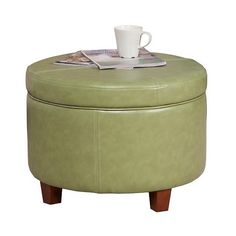 Storage Ottoman: Homepop  Faux Leather Round Storage Ottoman - Moss... ($90) ❤ liked on Polyvore featuring home, furniture, ottomans, green, faux leather footstool, home storage furniture, storage ottoman, padded ottoman and green furniture