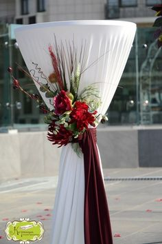 Just a reminder of how pretty the covered cocktail tables are. Don't need the floral arrangement. Burgundy Wedding, Red Wedding, Wedding Events, Wedding Flowers, Weddings, Wedding Bouquet, Reception Decorations, Event Decor, Wedding Centerpieces
