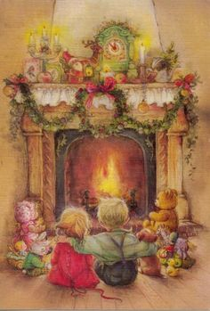 Children by the fireplace- Lisi Martin