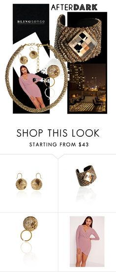 """""""Blingsense... After Dark"""" by cirlylocks ❤ liked on Polyvore featuring Missguided, jewelry, wrapdress and blingsense"""