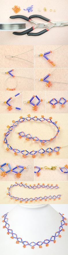 Tutorial on How to Make a Simple Blue Rhombic Bugle Bead Necklace Pattern for Beginners from LC.Pandahall.com