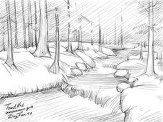 Как нарисовать реку карандашом
