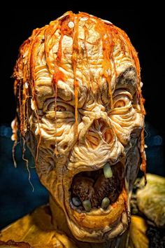 Zombie carved from a pumpkin