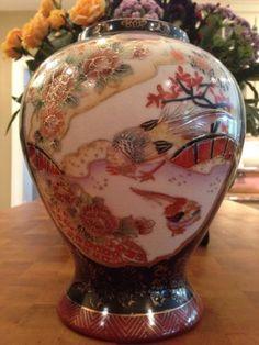 Beautiful-Vintage-Large-Asian-Black-Vase-Urn-w-Bird-and-Floral-Trimmed-in-Gold