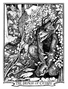 Henry Justice Ford - The red book of animal stories selected and edited by Andrew Lang, 1899 (illustration Demon Days, Lovecraftian Horror, Red Books, Children's Books, Religious Paintings, English Artists, Fairytale Art, Adam And Eve, Medieval Art