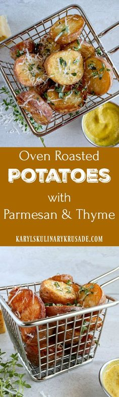 Oven Roasted Potatoes. Baby red potatoes get that beautiful crispy crust and fluffy interior with oven roasting. Season with coarse sea salt, fresh grated parmesan and herbs for a delicious snack or side dish #potatotes #redpotatoes #sides #parmesan #cheese #karylskulinarykrusade