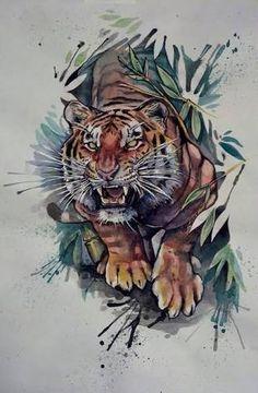 Resultado de imagem para tigers drawings colored