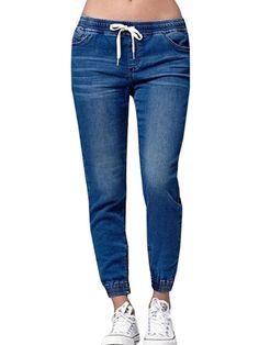 2018 Hot sale Fashion Women Autumn Elastic Plus Loose Denim Casual Drawstring Plus Cropped Jeans Loose Jeans, Lässigen Jeans, Denim Skinny Jeans, Casual Jeans, Cropped Jeans, Push Up, Elastic Jeans, Elastic Waist, Women's Flares