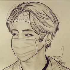 BTS - V (KIM TAEHYUNG) Girl Drawing Sketches, Cool Art Drawings, Pencil Art Drawings, Taehyung Fanart, Jimin Fanart, Kpop Fanart, Anime Boy Zeichnung, Kpop Drawings, Bts Chibi