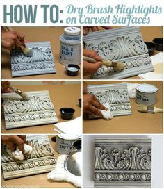 Want to learn some very easy and effective Chalk Paint® techniques for accenting carved surfaces? Painting with Chalk Paint® decorative paint by Annie Sloan is the easiest way to transform furniture and moldings with a few quick brushstrokes, as it allows Using Chalk Paint, Chalk Paint Projects, Chalk Paint Furniture, Furniture Projects, Furniture Makeover, Diy Furniture, Chalk Paint Brushes, Paint Ideas, Rustic Furniture