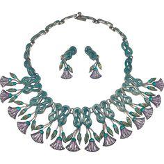 Monumental Margot de Taxco Twist & Lotus Enamel Sterling Silver Necklace Earrings Set 185GR