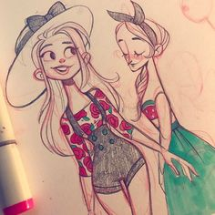 Been sick in bed all weekbut I drew some summer gals!