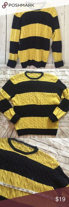 Polo Ralph Lauren yellow navy blue knit sweater Great condition. No Sz tag but measurments on pictures Polo by Ralph Lauren Sweaters Crewneck