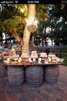 Outside Farm Wedding Table Fun