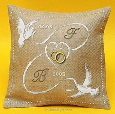 embroidery cushion - WEDDING Cushion Birds with cross-stitch ribbon APM . Wedding Ring Cushion, Wedding Pillows, Cushion Ring, Ring Bearer Pillows, Ring Pillows, Burlap Pillows, Wedding Cross Stitch Patterns, Cross Stitch Alphabet, Embroidery Stitches