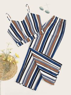 Shop Striped Cami Top With Pants at ROMWE, discover more fashion styles online. Cute Comfy Outfits, Cute Girl Outfits, Retro Outfits, Teenage Girl Outfits, Stylish Outfits, Cool Outfits, Girls Fashion Clothes, Summer Fashion Outfits, Cute Fashion