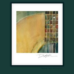 Martin Acoustic Guitar  Square Guitar Watercolor by dfrdesign, $21.00