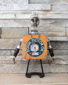 Sprocket the Robot Mechanic by FairyJunkMother on Etsy Found Object Art, Found Art, Salvage Parts, Electric Sheep, Sculpture Metal, Diy Robot, Tin Man, Fossil Watches, Vacuum Tube