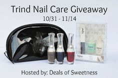 Trind Nail Care Giveaway - win a prize pack valued at $90 including the Moist and Shiny Kit, 3 Nail Polishes, and a makeup bag! Open to US and Canada 18+.
