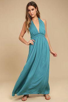 Lulus - Lulus Unforgettable Night Teal Blue Satin Maxi Dress - AdoreWe.com