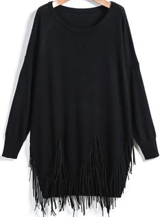 Shop Black Long Sleeve Tassel Loose Sweater online. Sheinside offers Black Long Sleeve Tassel Loose Sweater & more to fit your fashionable needs. Free Shipping Worldwide!