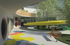 Escola Infantil Quatro Estações - Imagem voltada para parte das salas térreas e a rampa de acesso que é circundada por um escorregador.