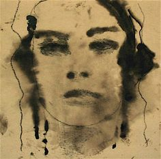 Domenico Grenci: Face; 2007. Bitumen and charcoal on paper. 25cm x 25cm.
