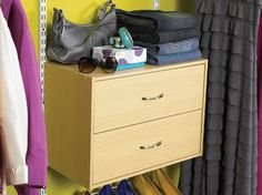 Expand the storing potential of your closet by adding a drawer cube to your Rubbermaid Configurations Closet System.